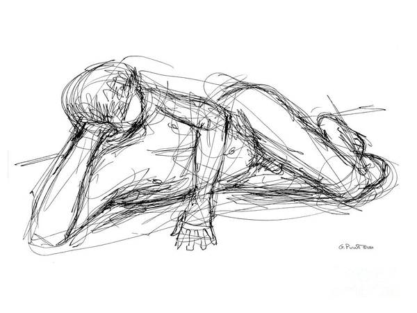 Art Print featuring the drawing Nude Male Sketches 5 by Gordon Punt