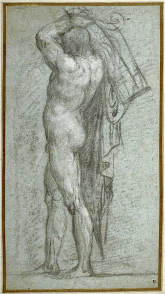Rudder Painting - Nude Man Carrying A Rudder On His Shoulder by Titian