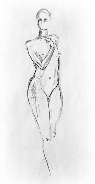 Wall Art - Drawing - Nude Model Gesture Viii by Irina Sztukowski