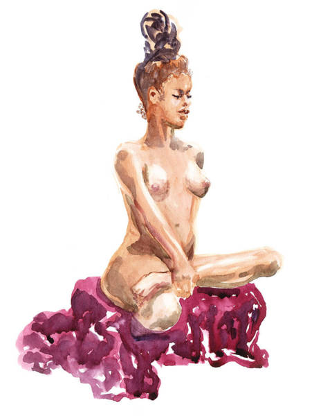 African Women Painting - Nude Model Gesture Xi Royal Garnet by Irina Sztukowski
