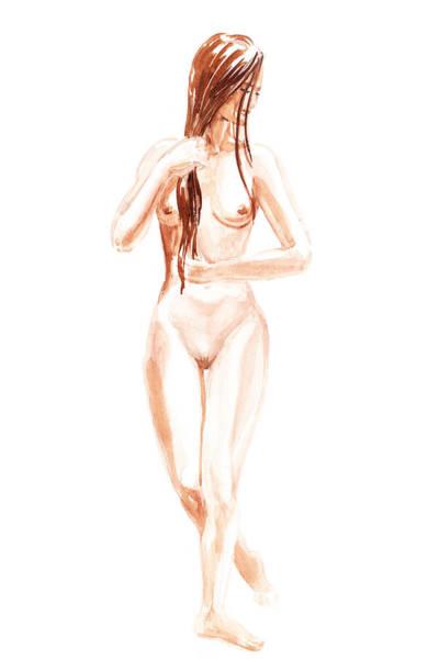 Wall Art - Painting - Nude Model Gesture Xiii Morning Flow by Irina Sztukowski