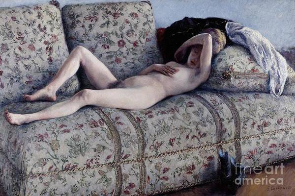 Drapes Painting - Nude On A Couch by Gustave Caillebotte
