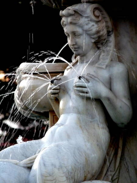 Photograph - Nude Statue Fountain Squirting Nipples by Jeff Lowe