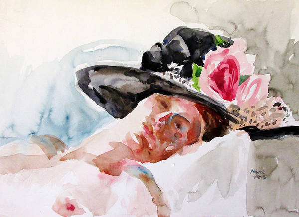 Painting - Nude With Flowered Hat by Linda Novick