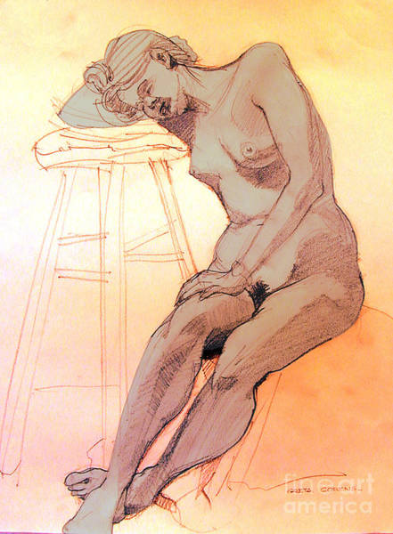 Drawing - Nude Woman Leaning On A Barstool by Greta Corens
