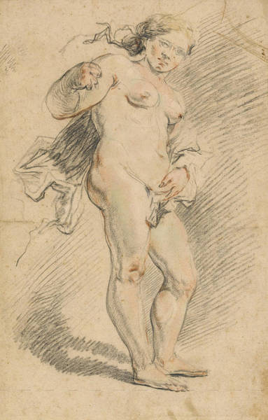 Full Length Drawing - Nude Woman Standing by Johann Liss