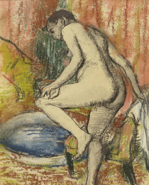 Impressionistic Drawing - Nude Woman Wiping Herself After The Bath by Edgar Degas