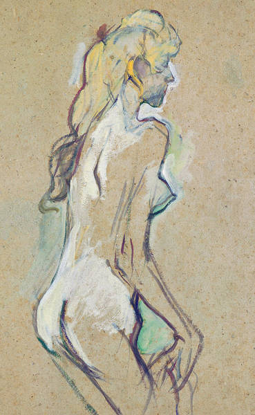 Wall Art - Drawing - Nude Young Girl by Henri de Toulouse-Lautrec