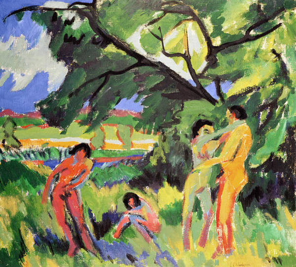 Embrace Painting - Nudes Playing Under Tree by Ernst Ludwig Kirchner