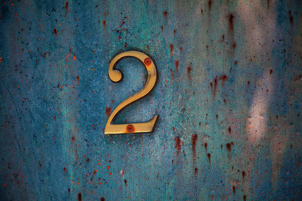 2 Photograph - Number 2 Sign On An Aged Painted Metal by Andrew Bret Wallis