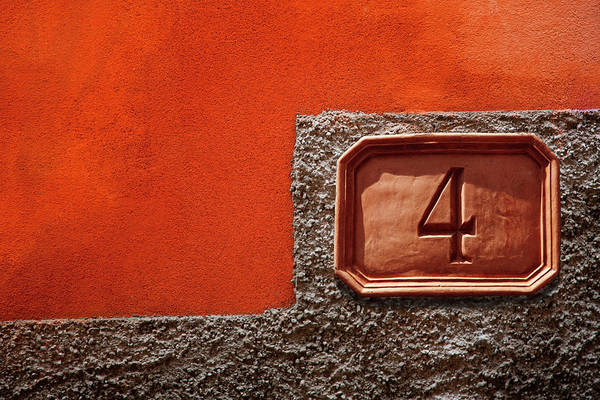 Plaster Photograph - Number 4 Sign Against A Painted Plaster by Andrew Bret Wallis