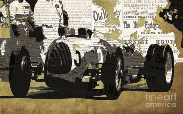 Classic Cars Digital Art - Number 5 Race Car To Pits by Drawspots Illustrations