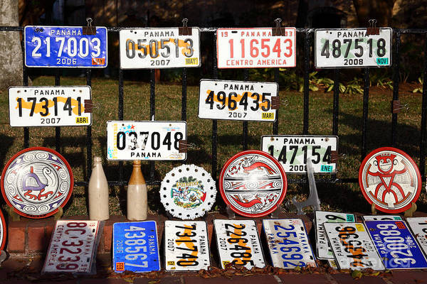Photograph - Panama Numberplates by James Brunker