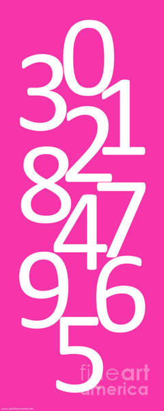 Wall Art - Digital Art - Numbers In Pink And White by Jackie Farnsworth