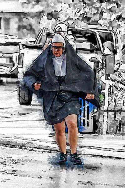 Asheville Mixed Media - Nun On The Run by John Haldane