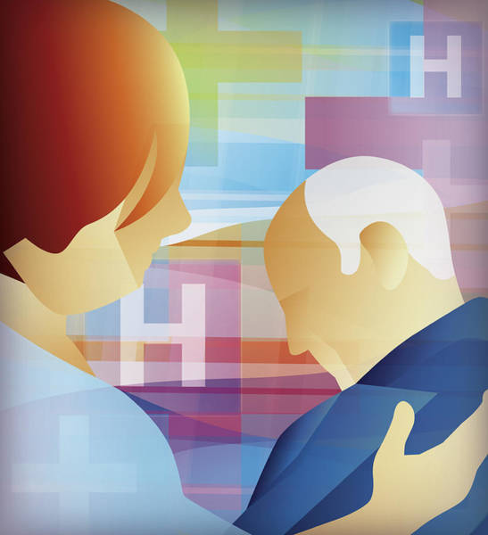 Wall Art - Photograph - Nurse Helping Elderly Patient by Ikon Ikon Images