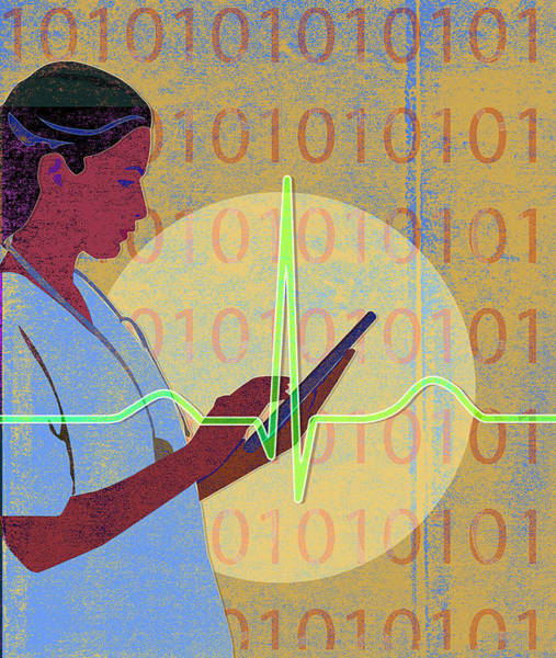 E-reader Wall Art - Photograph - Nurse Using Digital Tablet With Binary by Ikon Ikon Images