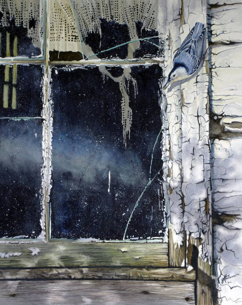 Painting - Nuthatch And Window by Greg and Linda Halom
