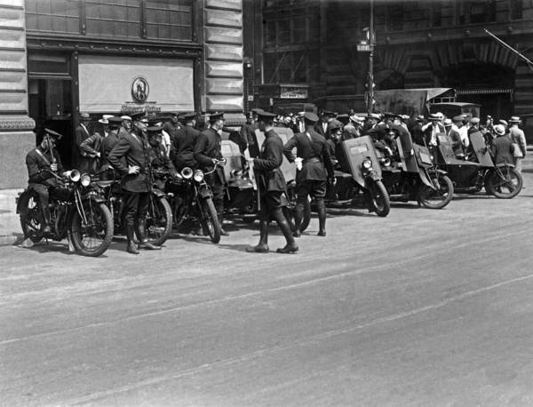 Armored Photograph - Ny Armored Motorcycle Squad  by Underwood Archives