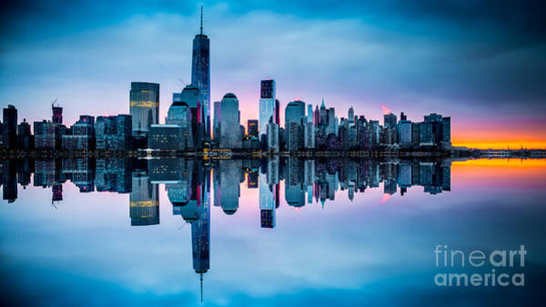 Photograph - Ny Skyline Dawn Reflection by Jim DeLillo