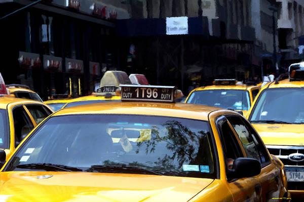 Digital Art - Ny Streets - Yellow Cabs 2 by Gabriel T Toro