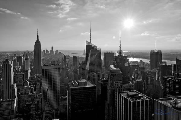 Photograph - Ny Times Skyline Bw by S Paul Sahm