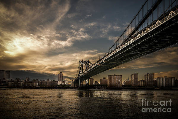 Photograph - Nyc - Manhatten Bridge - Hdr- Sun by Hannes Cmarits