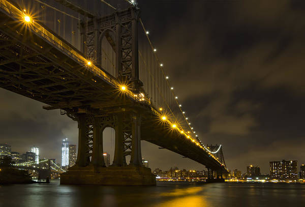 Wall Art - Photograph - Nyc Bridges At Night by Eduard Moldoveanu