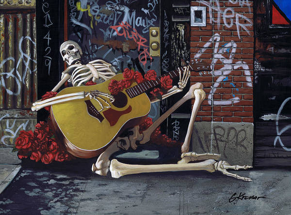 Tattoos Painting - Nyc Skeleton Player by Gary Kroman