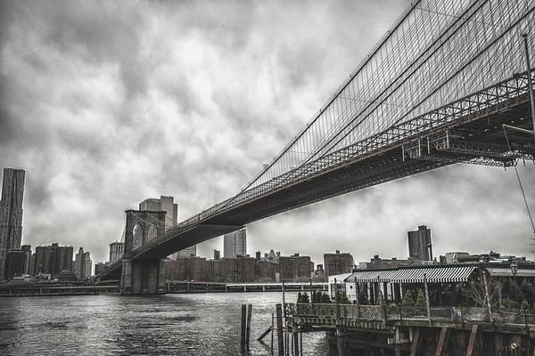 High Dynamic Range Imaging Photograph - Nyc Skyline And Brooklyn Bridge by Franckreporter