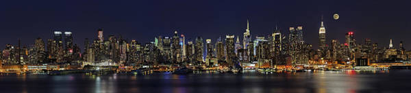 Photograph - Nyc Skyline Full Moon Panorama by Susan Candelario