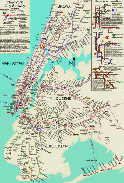 Contour Map Photograph - Nyc Subway Map by Mountain Dreams