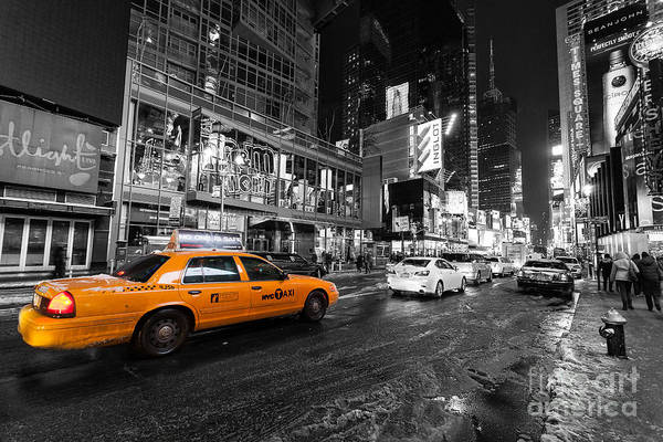 Wall Art - Photograph - Nyc Taxi Times Square Color Popped by John Farnan