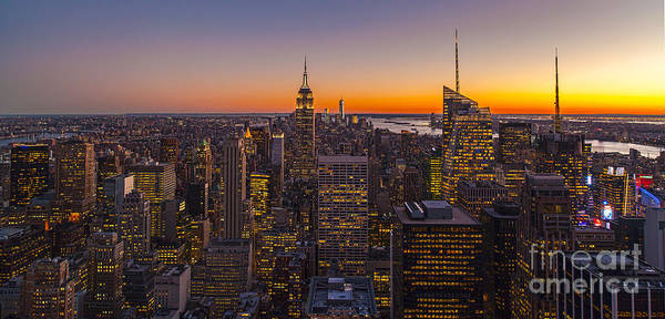 The Empire Photograph - Nyc Top Of The Rock Sunset by Mike Reid