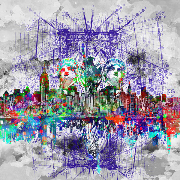 Wall Art - Painting - Nyc Tribute Skyline 4 by Bekim M