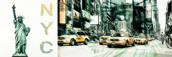 Photograph - Nyc-yellow Cabs And Lady Liberty 3x1-  2 by Hannes Cmarits