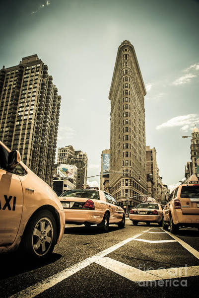 Photograph - Nyc Yellow Cabs At The Flat Iron Building - V1 by Hannes Cmarits
