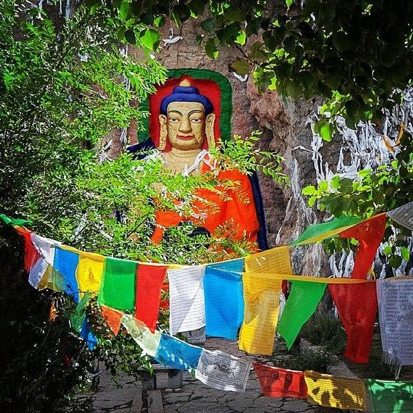 Religious Wall Art - Photograph - Nyetang Buddha And Prayer Flags by Hitendra SINKAR