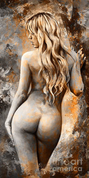 Nude Body Painting - Nymph 02 - Digital Colored Rust by Emerico Imre Toth