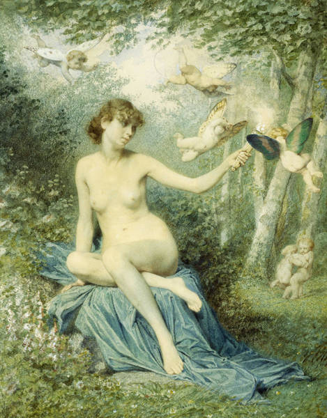 Blanket Painting - Nymph Driving Love Away With A Torch by Victor Florence Pollet