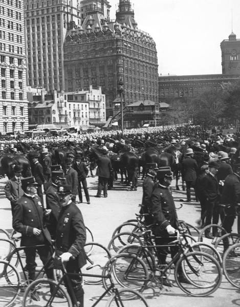 1900 Photograph - Nypd Bicycle Force by Underwood Archives