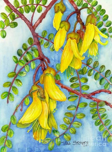 Painting - Nz Kowhai by Val Stokes