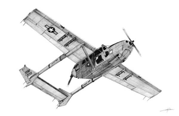Vietnam Drawing - O-2a Oscar Deuce by Dale Jackson