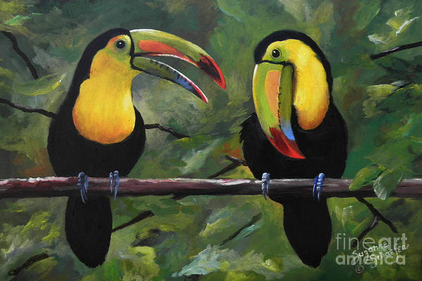 Exotic Bird Painting - O Yeah Yeah Yeah -toucans by Suzanne Schaefer
