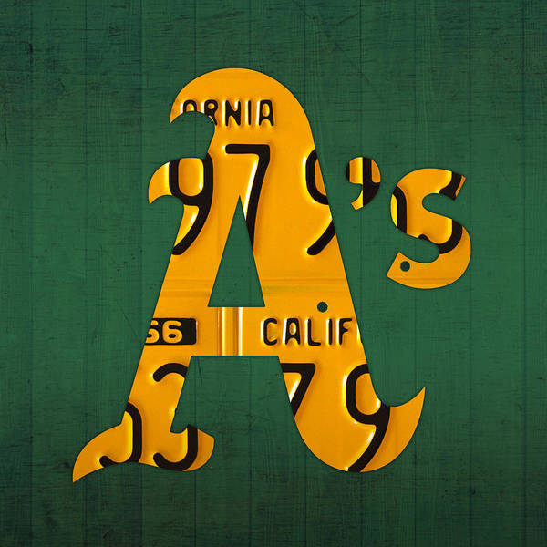 Fruit Wall Art - Mixed Media - Oakland Athletics Vintage Baseball Logo License Plate Art by Design Turnpike