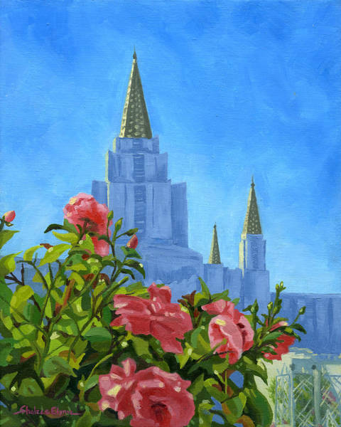 Painting - Oakland California Lds Temple by Shalece Elynne