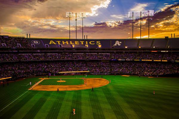 Coliseum Photograph - Oakland Coliseum Sunset by Brandon McClintock