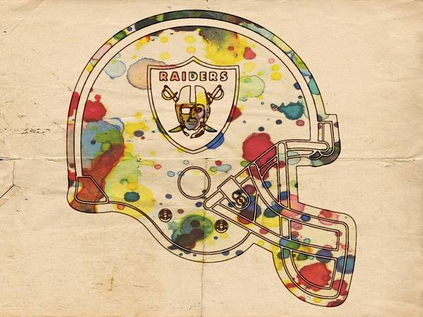Painting - Oakland Raiders Helmet Art by Florian Rodarte