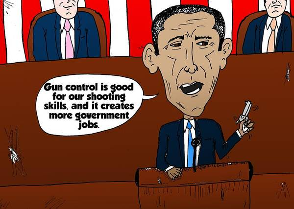 Caricature Mixed Media - Obama Caricature On Guns And Gov't Jobs by OptionsClick BlogArt