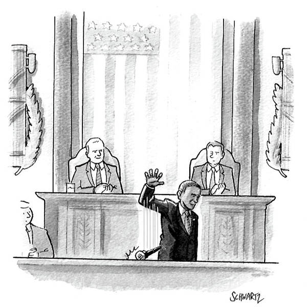 Government Drawing - Obama Dropping A Mic by Benjamin Schwartz